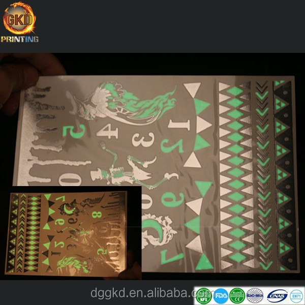 hot sale metallic body tattoo sticker glow in the dark/noctilucence tattoo