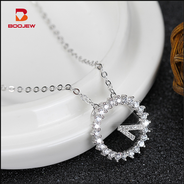 Manufactory wholesale costume jewelry rhodium plated round design silver necklaces beautiful thai silver necklace