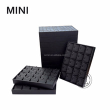 Hot sale value black leatherette table stackable jewelry organizer display tray