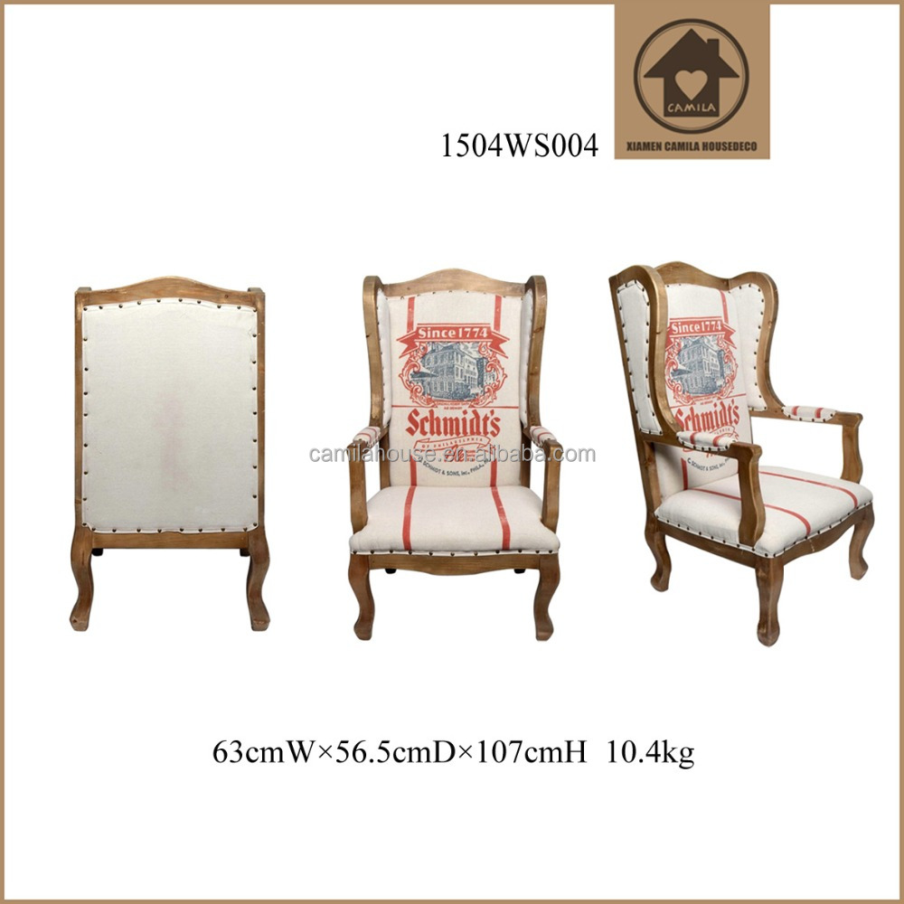 Wooden High Back Living Room Chairs Royal Custom Solid Wood Arm Chairs Vintage Home Decor Indoor Wood Chair