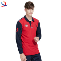 2018 Newest Fashion Design Custom Logo Cheap Price OEM Service Long Sleeve Mens Polo Shirt
