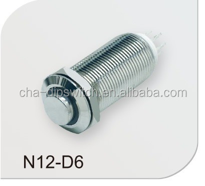 AC DC Metal Push Button Micro Switch 12mm Touch Button Switch chauhua