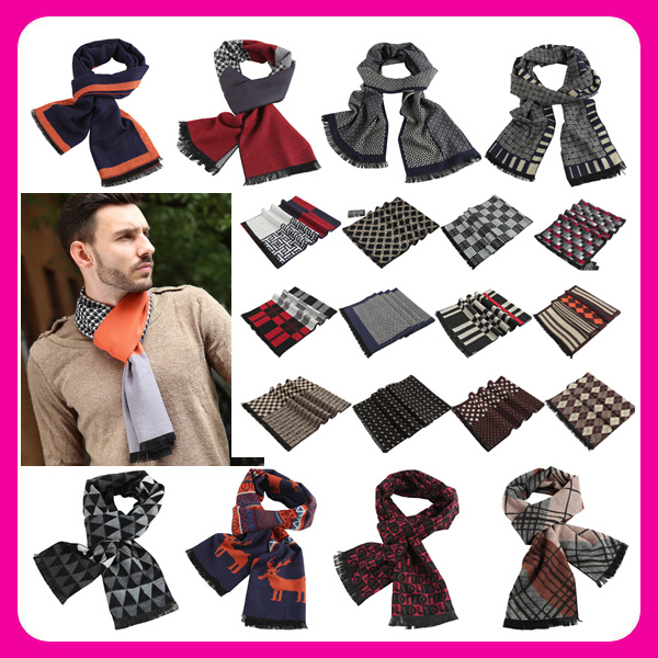 Alibaba Stock Wholesale Fashion Men British Style Autumn Winter Long Scarves Muffler Stylish Men Scarf