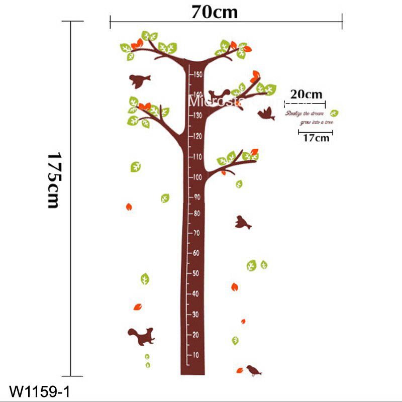 Dream tree, birds, squirrels Kids height measuring Wall Stickers Boy Girl Growth Chart