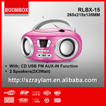 RLBX-15 Portable Boom box CD Boombox Player with USB FM Radio