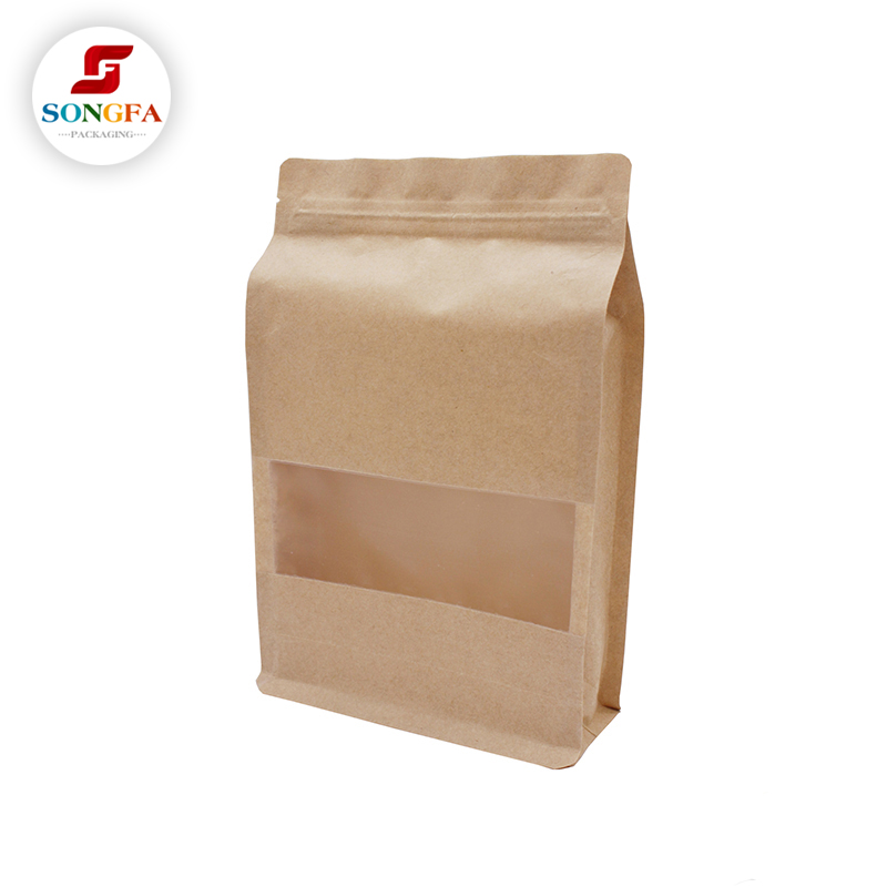 Square bottom kraft paper ziplock <strong>bags</strong> for snack snack