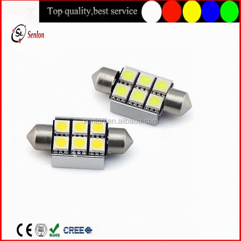High quality c5w canbus led festoon light 6pcs 5050 smd 36mm Car plate light interior dome light bulb for auto cars
