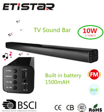 Home theater bluetooth tv sound bar speaker with battery USB FM radio