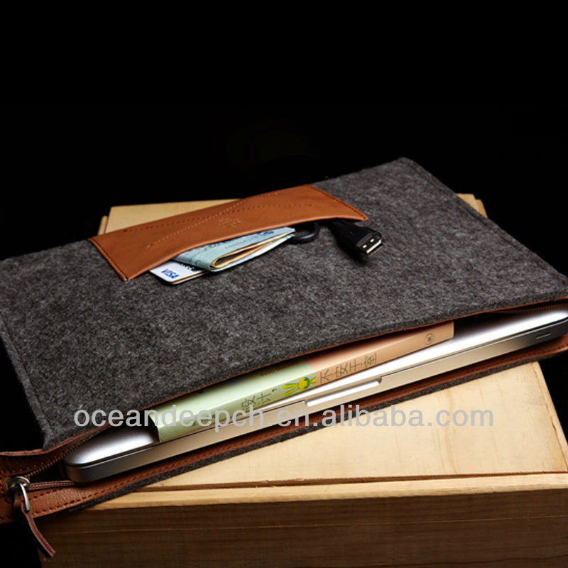 Felt belt leather case for ipad air new product 2014