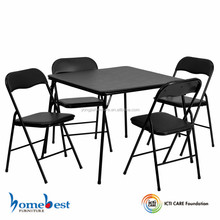 5 PCS Black Folding Card Table and Chair Set