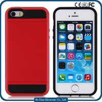 China Suppliers Fashional Phone Case Cover Luxury PC +TPU Mobile Phone Case For iPhone5 with Credit Card slot