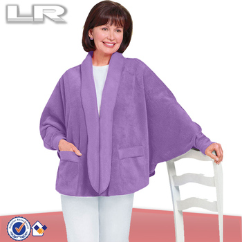 Fleece Women Smock Bed Jacket With Batwing Sleeve