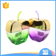 Hot-sell fancy apple shape colored empty glass perfume spray bottle