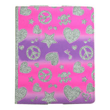 Cute Shiny for ipad 2/3/4 case, Nice Standing Case for ipad 4