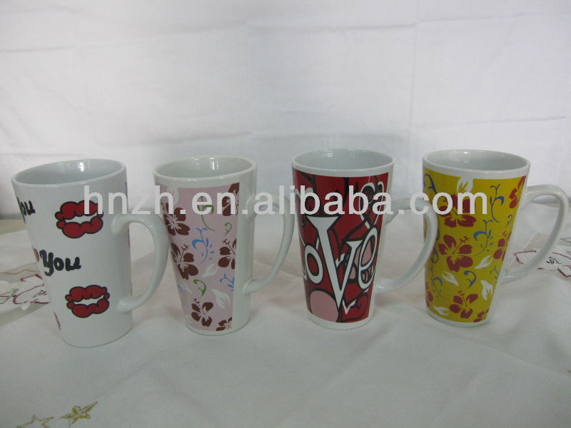 14oz ceramic decal mug with all kind of fashionable pictures
