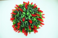 "brand name decorations 40cm or 16"" Dia. Artificial plastic Red Lush Long Leaf Flowers Topiary grass Ball EHYQ20 602 1601"