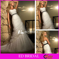 Wedding Dress Motif Trumpet Mermaid Sweetheart Court Train Ruched Bridal Gowns with Beaded Black Belt