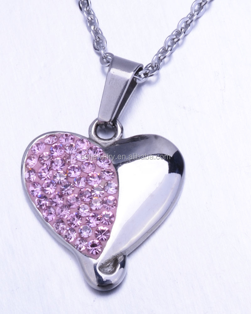 latest charming pendant necklace women jewelry heart shape stainless steel