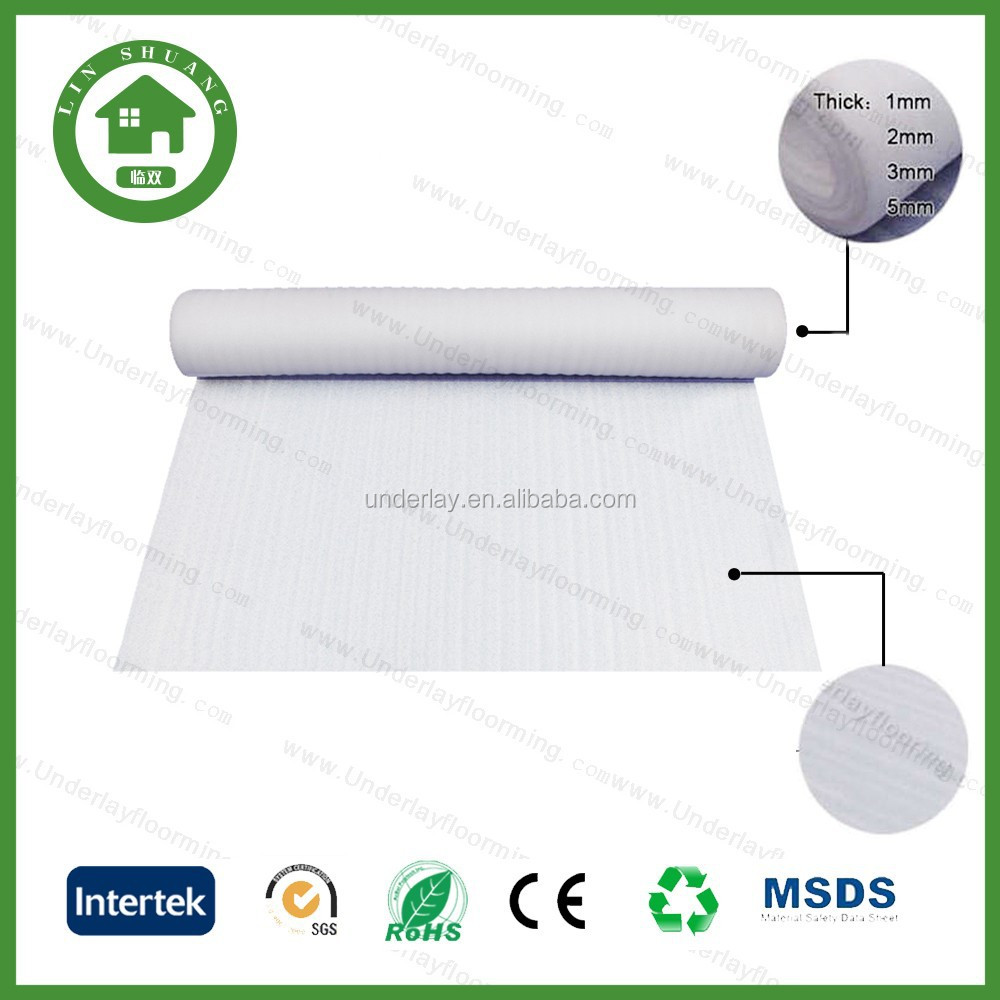 Heat Insulation 2mm White EPE Foam Underlay for Wood Flooring.