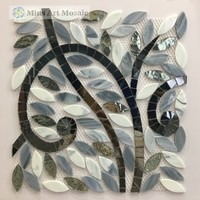Irregular tile oval glass mosaic picture hand cut mosaic pattern