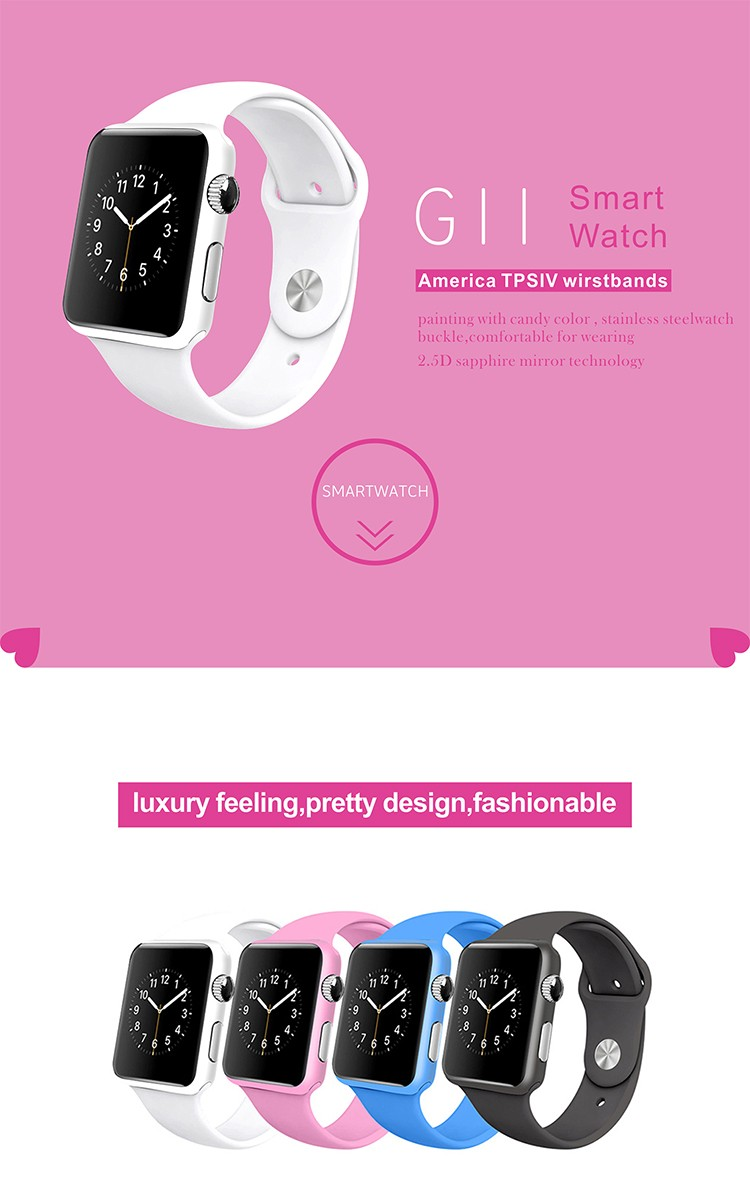 GV11 Porcelain frame built in camera bluetooth 3.0 1.54inch capacitive touch screen support android OS phone watch