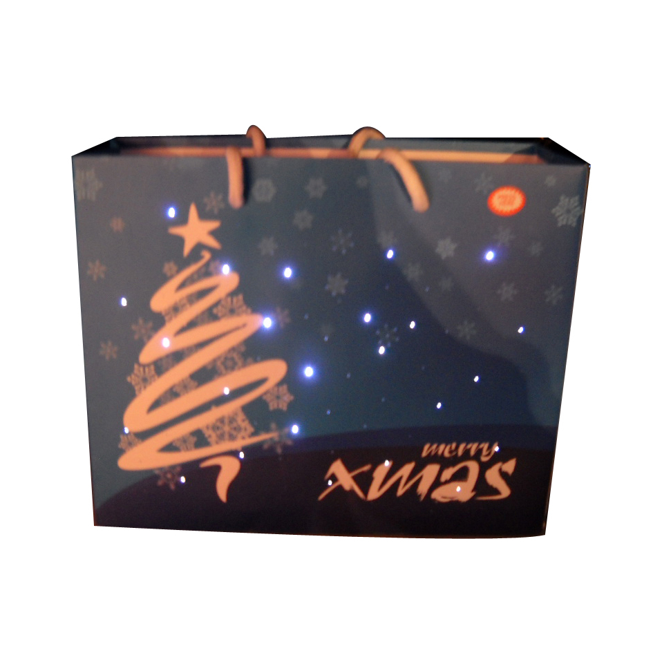 High quality lighting up Christmas non-woven bags and halloween bags,flashing led paper bags,led light shopping bags