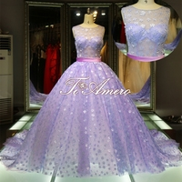 Slight See-through top little follower sequins purple and white wedding dresses/ball gown
