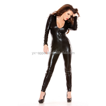 Female fetish jumpsuit clothings faux leather latex catsuit