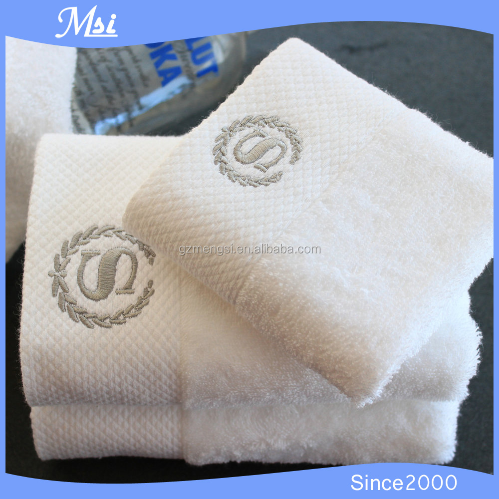 custom hotel white cotton dobby hand towel to embroider wholesale made in China