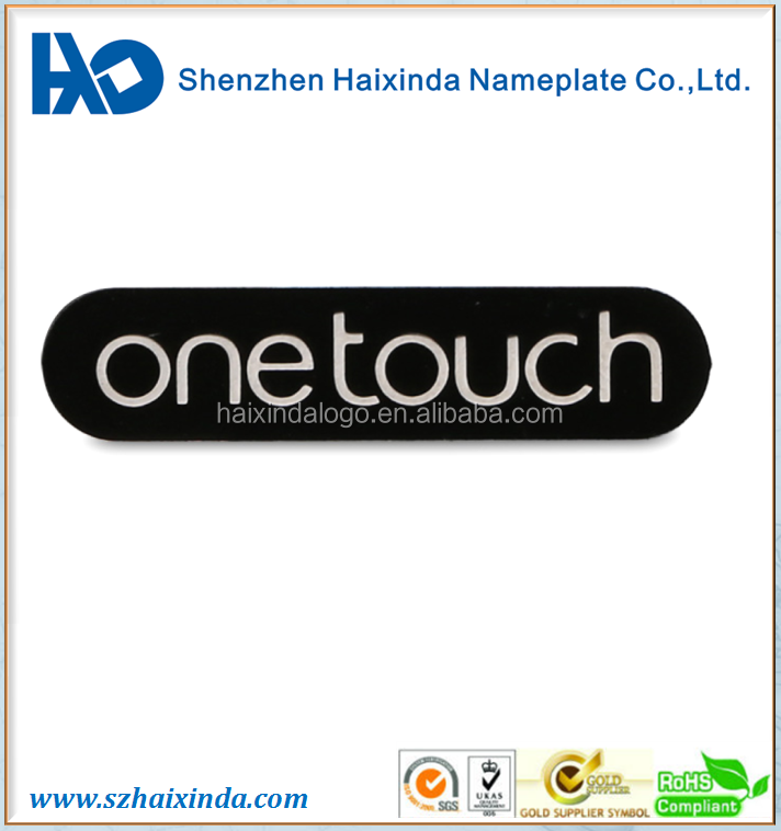 Professional manufacture custom glossy Aluminum earphone logo headphone metal label sticker