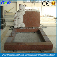 Baby Tombstone Indian Red Granite Monuments With Bear Carving