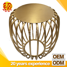 Hot sell metal gold furniture round stainless steel lantern corner mini tea table