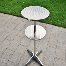 Modern style bistro anodized shiny metal stainless steel bar table