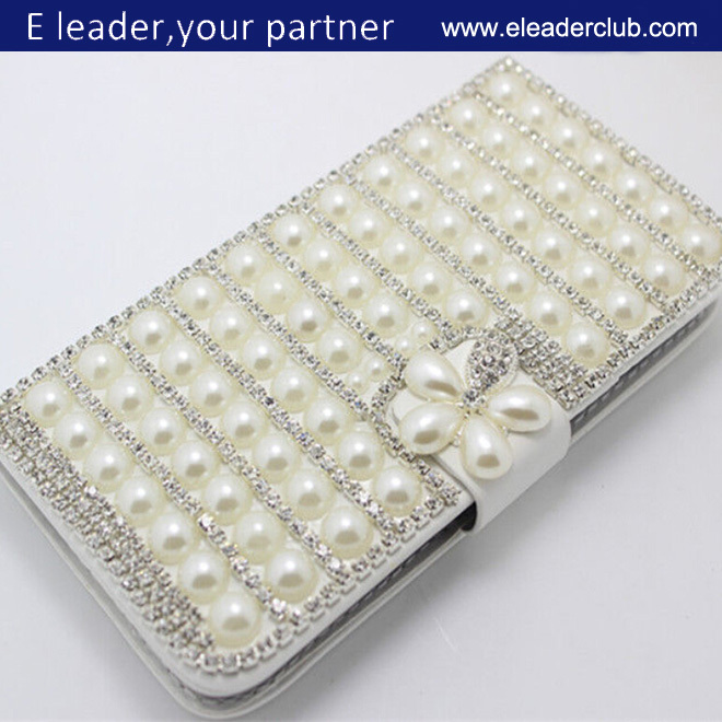 Diamonds PU leather wallet flip cover case for Samsung Galaxy Alpha
