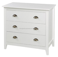 Wider White Three Drawers Bedroom MDF Cabinet, White Chest of Drawers