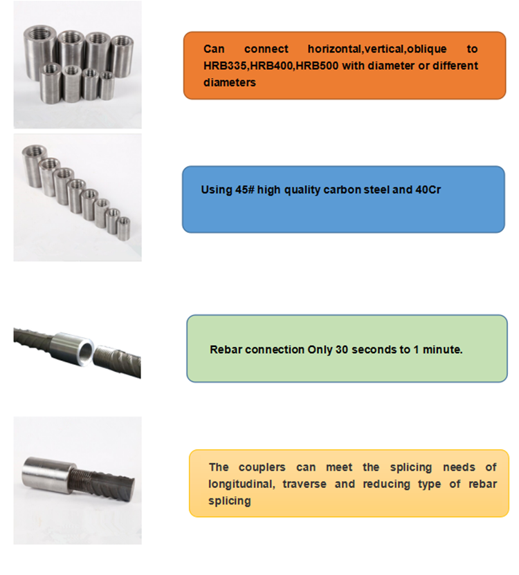 Construction Material Thread Manufacturer Professional Factory Parallel Splice Connector Rebar Coupler