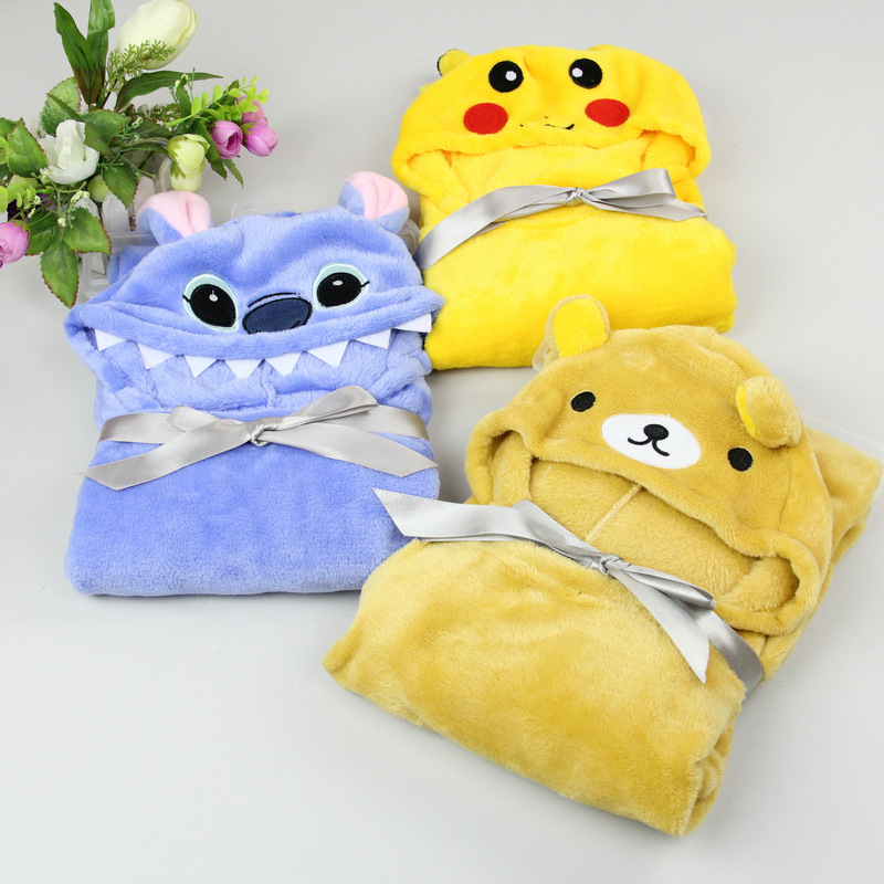 The new pokemon hooded cloak baby Soft and cute baby cloak animal blanket bath towel