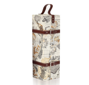 Map Pattern Leather Wine Carrier