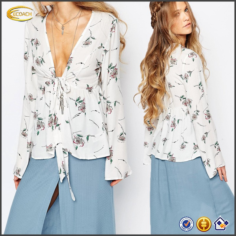 Ecoach 2016 Elegant 100% Rayon V-neck Long Sleve Floral Print Flare Sleeve Blouses For Ladies