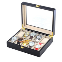 In STOCK 10 slot Matt wooden jewellery box with cushions