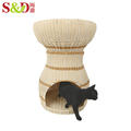 washable luxury laege PE rattan cheap cat houses comfortable pet house for sale