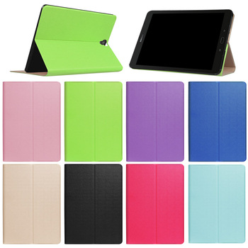Low Cost solid color smooth touch Leather Wallet Case for Samsung Tab S3 9.7 T820