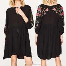 Anly latest design clothing factory price plus size comfortable fabric embroidered dress women apparel summer 2017