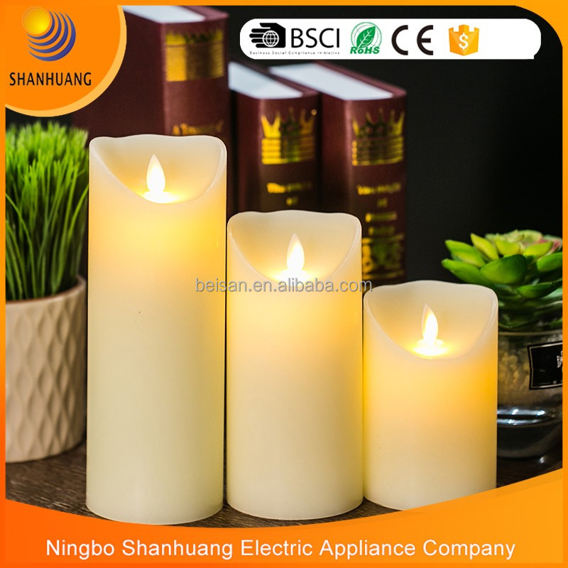 Home Decoration candle Ivory Paraffin candle wax birthday gift Moving flame led candle