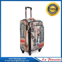 Fashion Design light weight pu royal Trolley Luggage