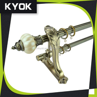 KYOK Hot Sale excellent quality resin curtain finial, fancy design hollow shower curtain rods curtain poles, brass bracket