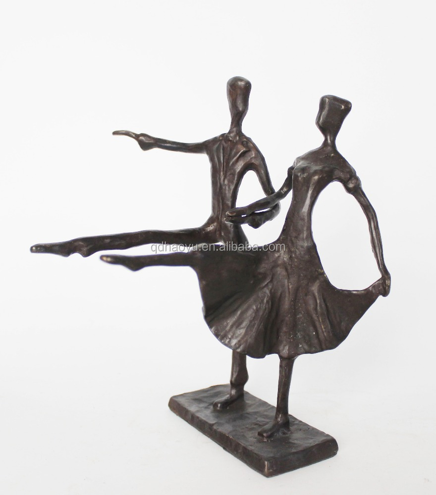 Metal art and crafts bronze dancing couple sculpture for home decoration