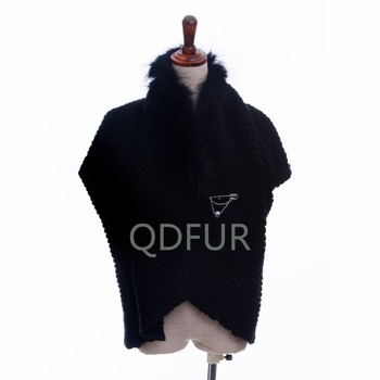 QD81003 Fashion Ladies Knitted Mohair Shawl Cape With Raccoon Fur Collar For Woman Winter Shawl
