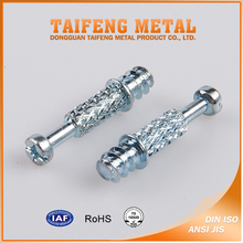 Zinc coated carbon steel self tapping knurled connecting bolt
