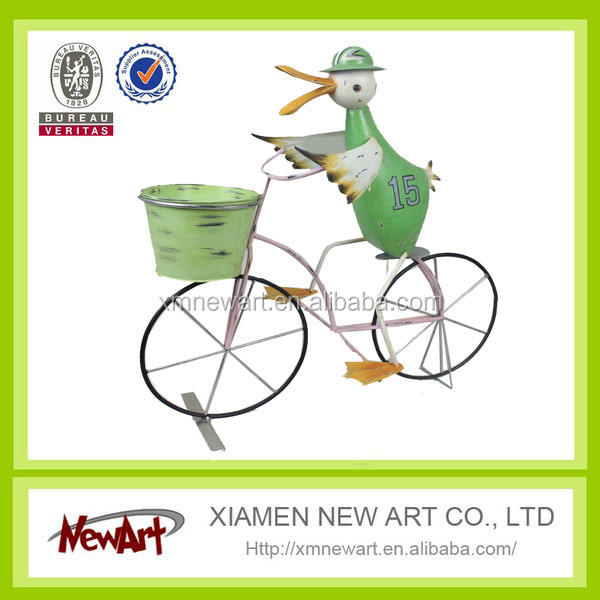 China animal wrought iron garden bicycle planters decorative metal plant pots indoor